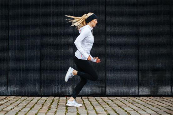 Woman running outside