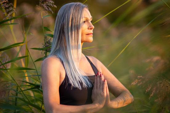 woman going yoga outside